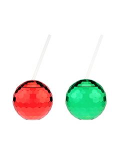 Assorted Red and Green Disco Ball Drink Tumblers by Blush